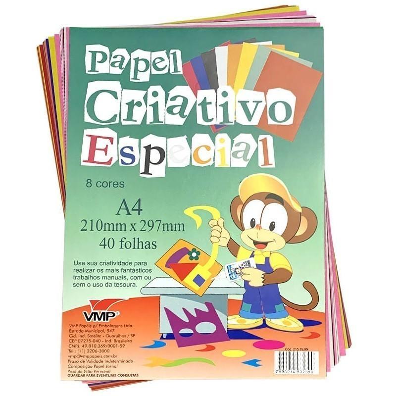 Bloco de Papel Criativo Especial com 40 folhas em 8 cores - VMP