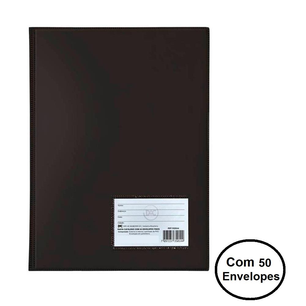 Pasta Catálogo Ofício c/ 50 envelopes finos