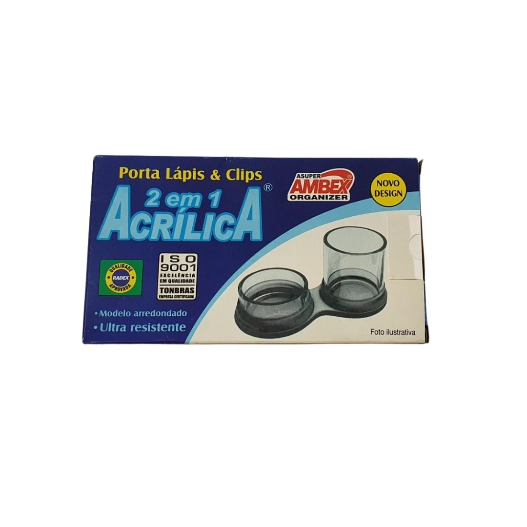 Porta Lápis e Clips 2 em 1 Acrílica - Radex