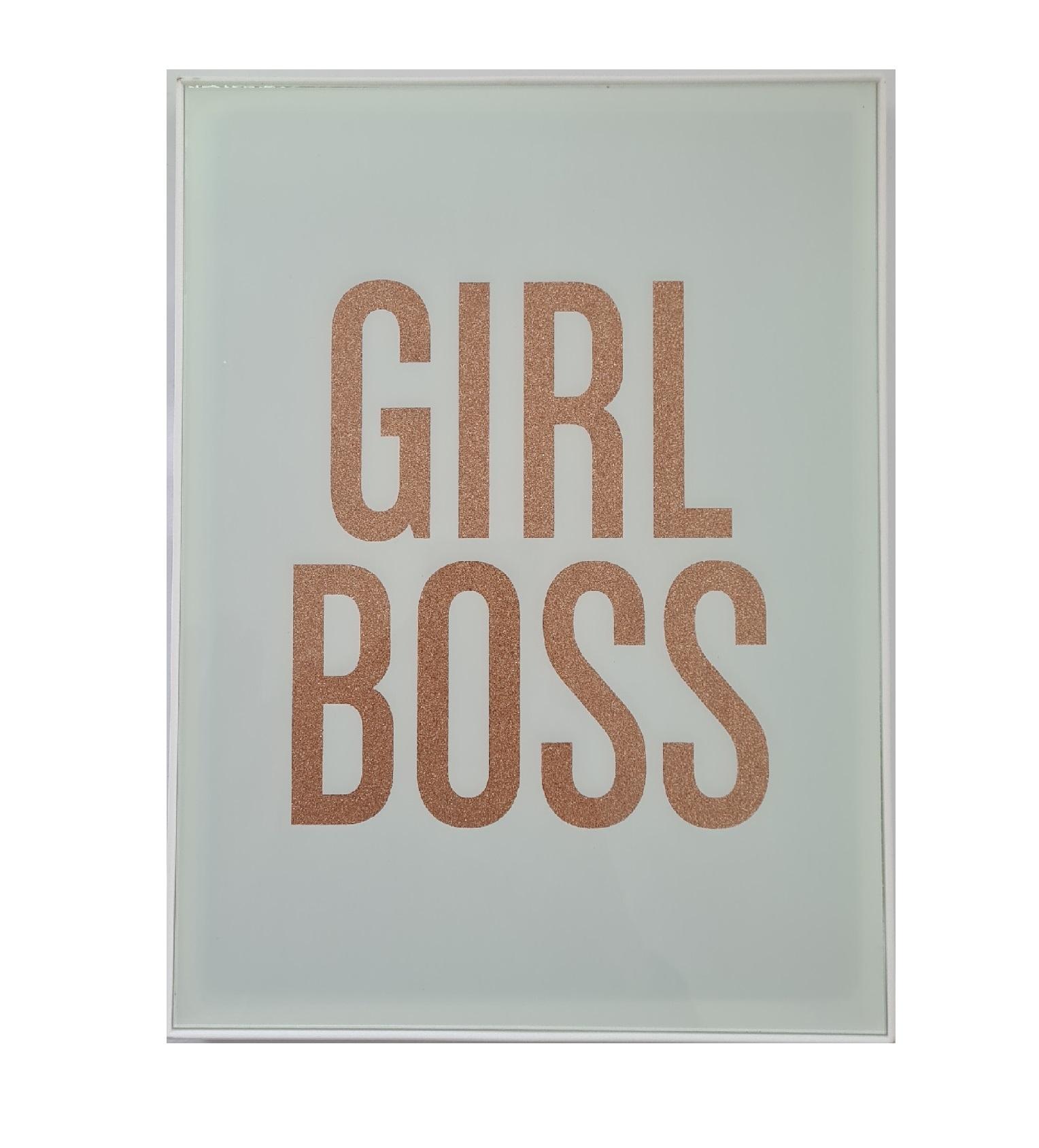 Quadro Decorativo Girl Boss letrada com Brilho FWD
