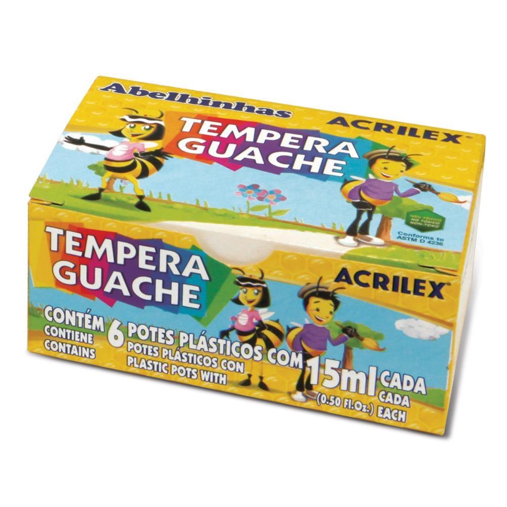 Tempera Guache com 6 Unidades 15ml Cada - Acrilex