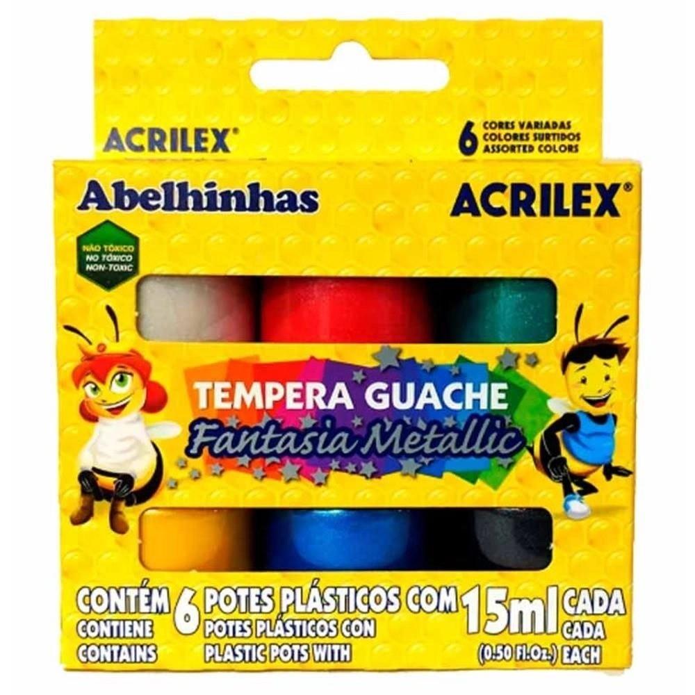 Tempera Guache Fantasia Metallic 6 unidades com 15 ml cada Acrilex