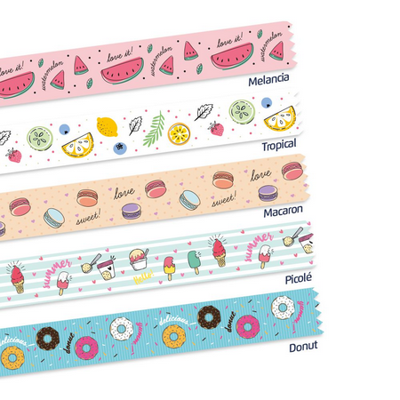 Washi Tape Food Trends com 5 rolos Leonora