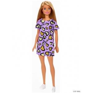 Boneca Barbie Loira Vestido Roxo Corações Amarelo - Mattel