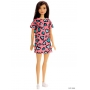 Boneca Barbie Morena Vestido Rosa Corações Verde - Mattel
