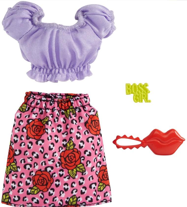 Barbie Roupas e Acessórios - Conjunto Blusa Lilás e Saia Rosa