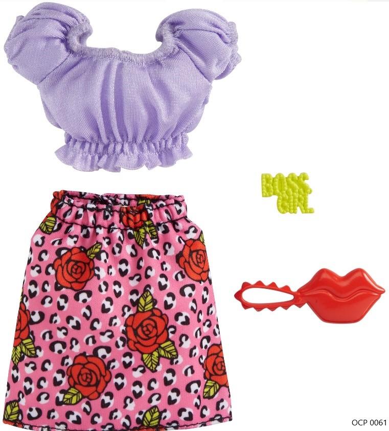 Barbie Roupas e Acessórios Conjunto Blusa Lilás e Saia Rosa - Mattel