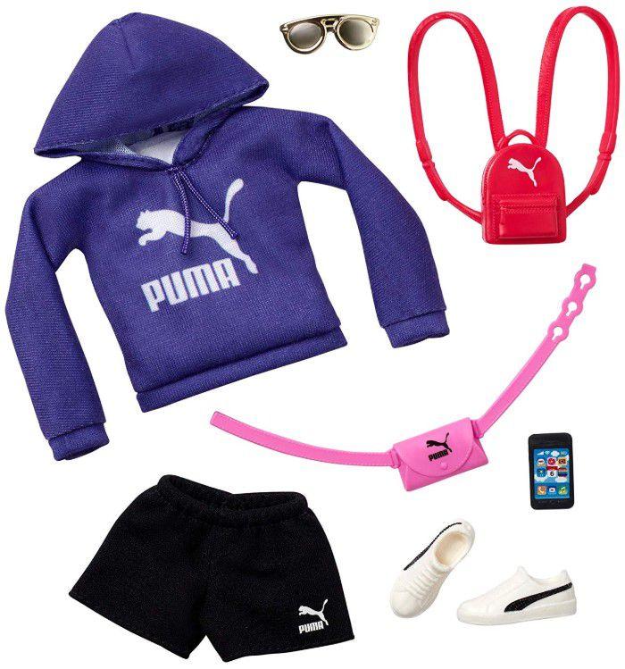 Barbie Roupas e Acessórios - Moletom PUMA Roxo com Capuz e Shorts