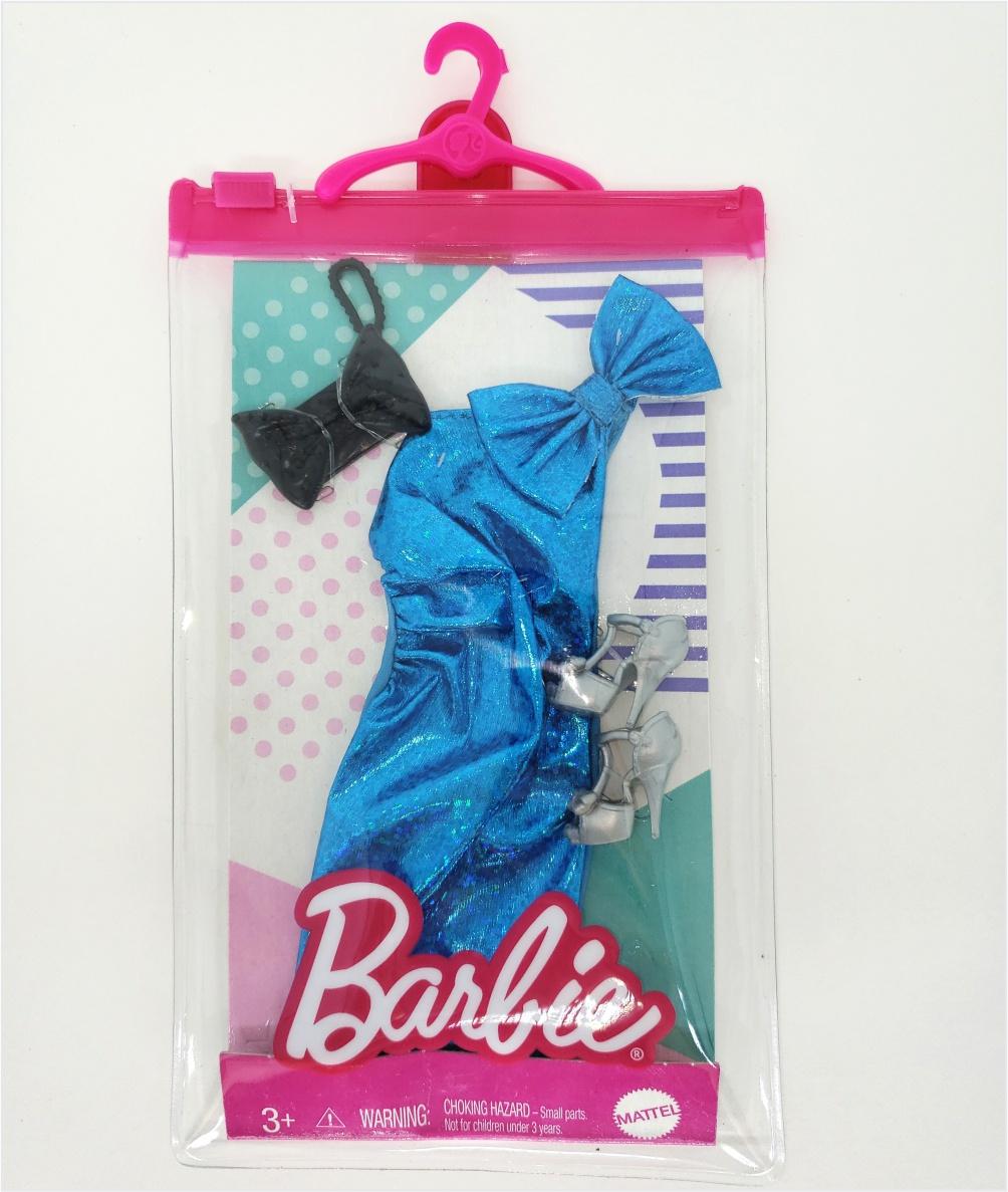 Barbie Roupas e Acessórios - Vestido Azul Metálico