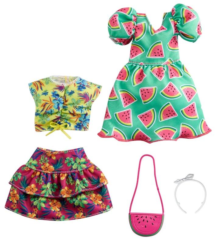 Barbie Roupas e Acessórios - Vestido Melancia e Conjunto Floral