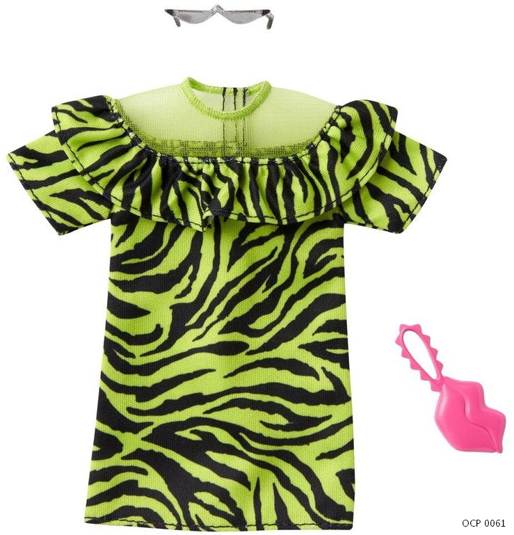Barbie Roupas e Acessórios Vestido Verde Neon Animal - Mattel
