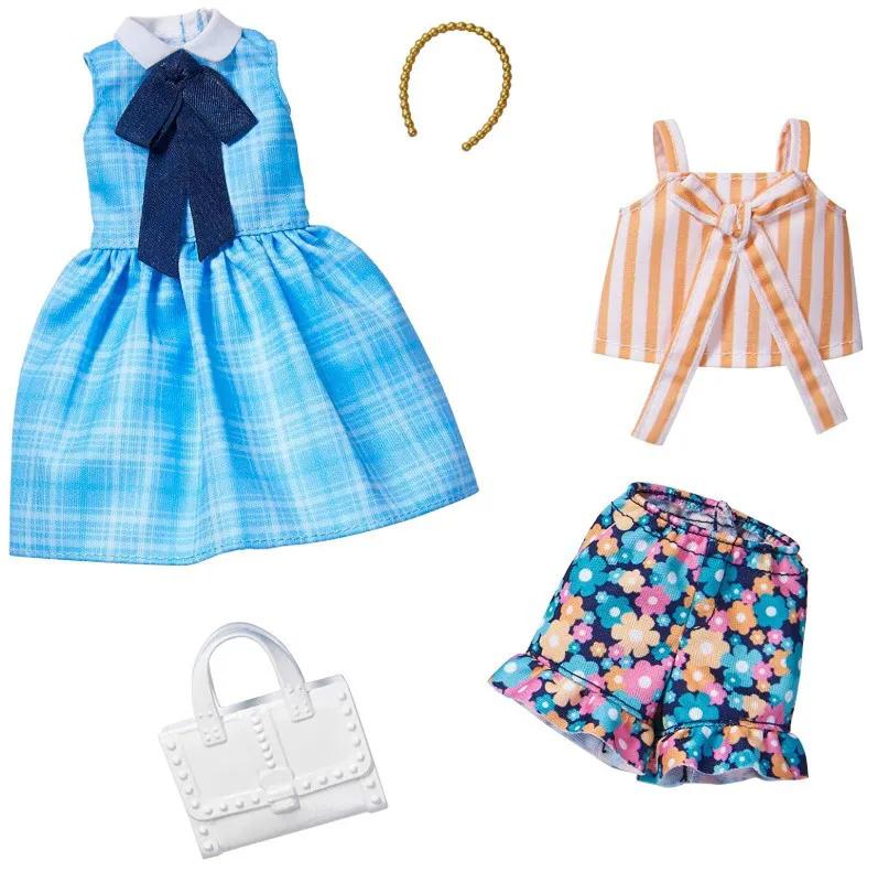 Barbie Roupas e Acessórios - Vestido Xadrez Azul Shorts Floral Top