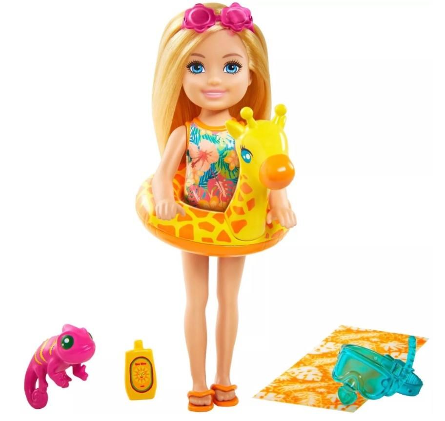 Boneca Barbie Chelsea Praia Girafa