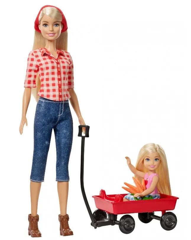 Boneca Barbie Doce Pomar da Fazenda e Chelsea com Carrinho