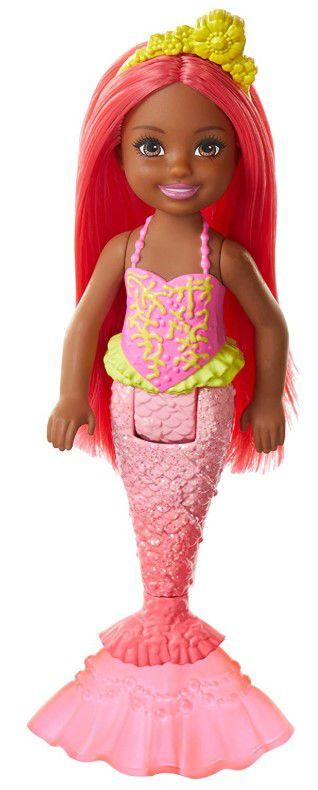 Boneca Barbie Dreamtopia Chelsea Sereia Cabelo e cauda coral