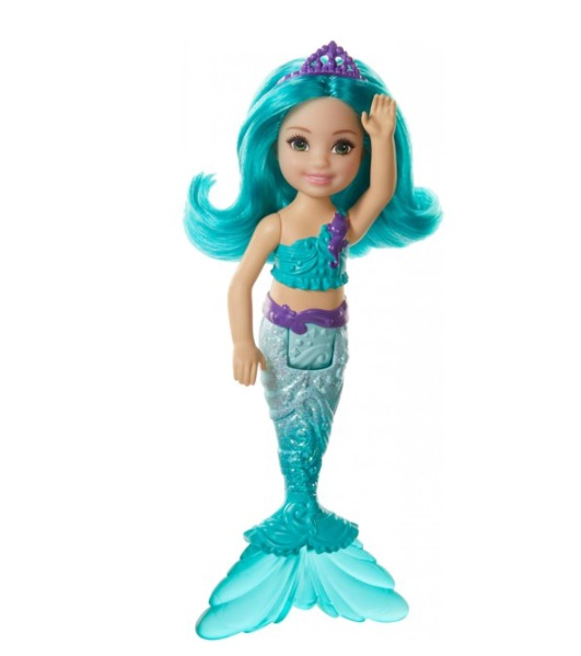 Boneca Barbie Dreamtopia Chelsea Sereia Cabelo e cauda verde-azulado