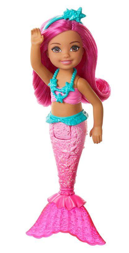 Boneca Barbie Dreamtopia Chelsea Sereia Rosa e Cabelos Rosa