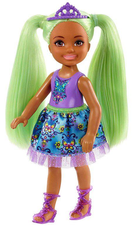 Boneca Barbie Dreamtopia Chelsea Sprite Cabelo Verde Borboletas