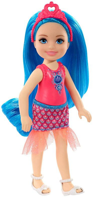 Boneca Barbie Dreamtopia Chelsea Sprite Cabelo Azul Concha