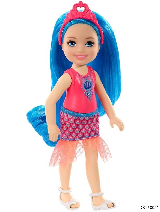 Boneca Barbie Dreamtopia Chelsea Sprite Cabelo Azul Concha - Mattel