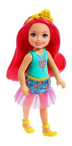 Boneca Barbie Dreamtopia Chelsea Sprite Cabelo Rosa Neon Flores