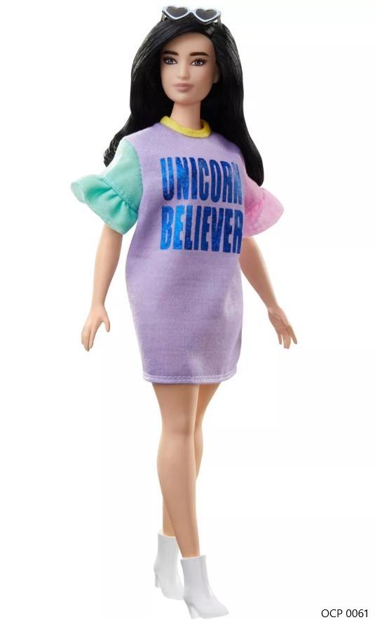 Boneca Barbie Fashionistas 127  Vestido Unicórnio Believer - Mattel