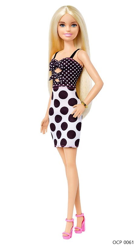 Boneca Barbie Fashionistas 134 Cabelos Longos Loiro Vestido de Bolinhas - Mattel