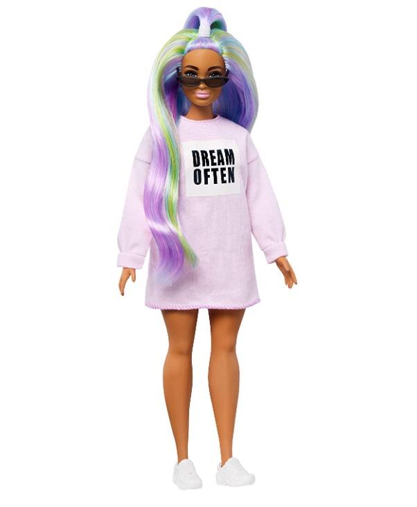Boneca Barbie Fashionistas # 136 Cabelos longos de Arco-Íris