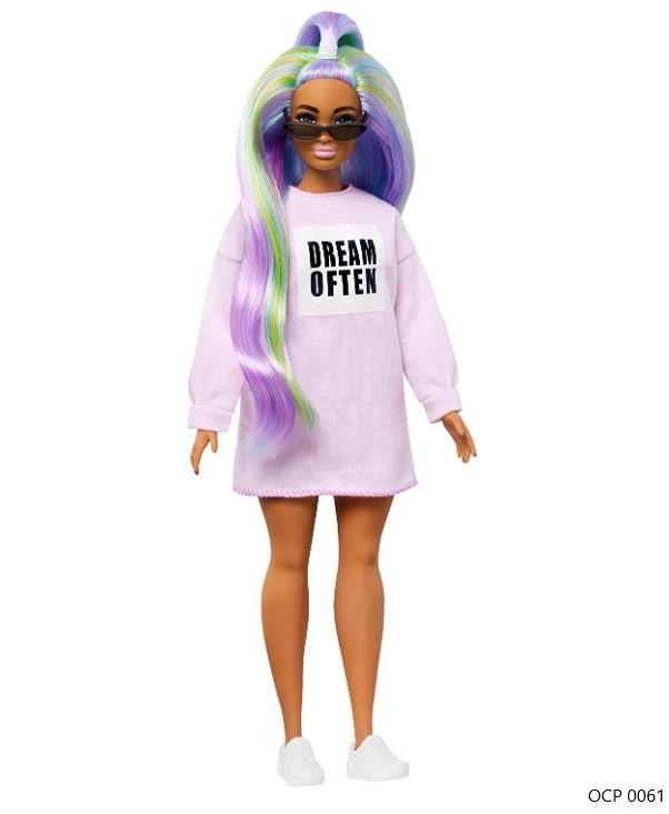 Boneca Barbie Fashionistas 136 Cabelos longos de Arco-Íris - Mattel