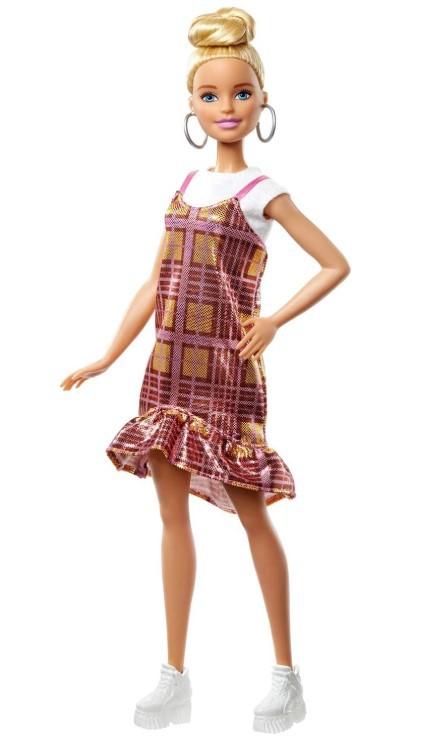 Boneca Barbie Fashionistas - 142 Cabelo Loiro updo Vestido xadrez rosa dourado