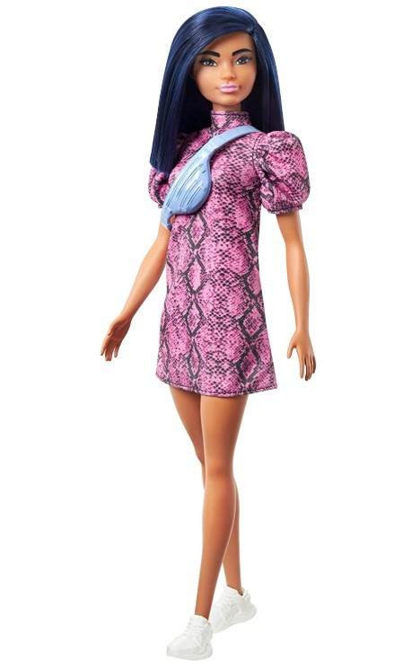 Boneca Barbie Fashionistas - 143 Cabelo Azul Vestido Rosa Preto