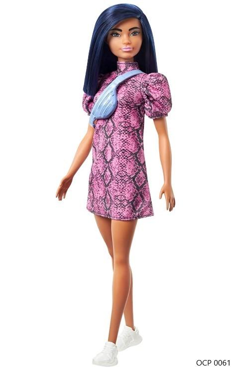 Boneca Barbie Fashionistas 143 Cabelo Azul Vestido Rosa Preto - Mattel