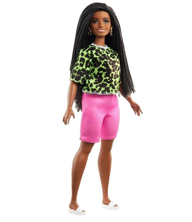 Boneca Barbie Fashionistas - 144 Cabelo Trançado Longo Blusa Verde Neon Animal Shorts Pink