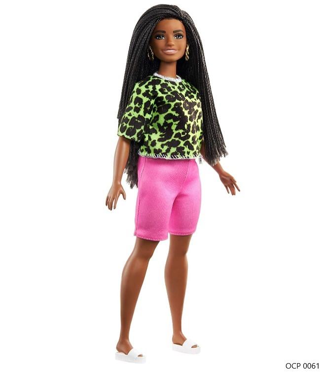 Boneca Barbie Fashionistas 144 Cabelo Trançado Longo Blusa Verde Neon Animal Shorts Pink - Mattel