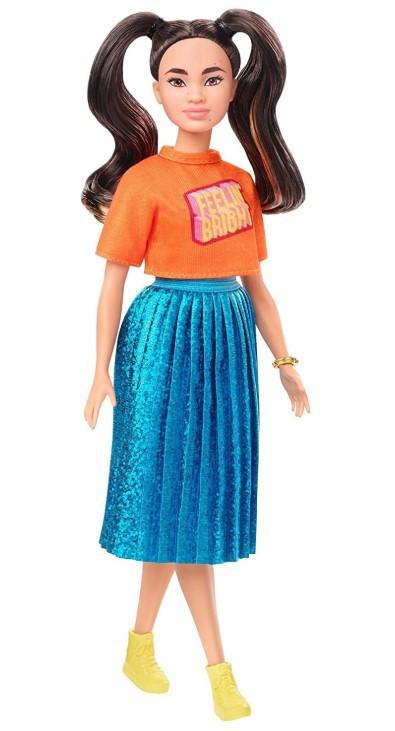 Boneca Barbie Fashionistas - 145 Rabo de Cavalo Longo Blusa Laranja Saia Azul