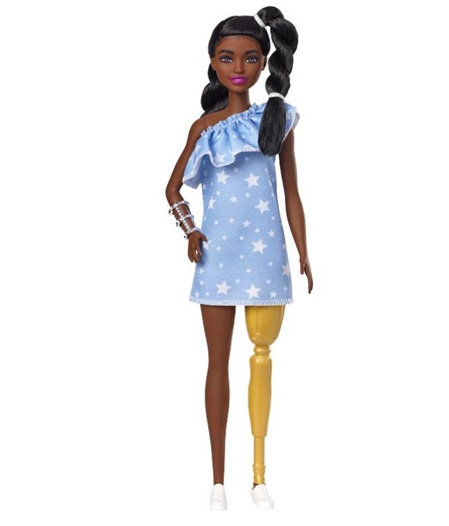 Boneca Barbie Fashionistas - 146 Morena Tranças Torcidas Perna Protética Vestido Estrelas