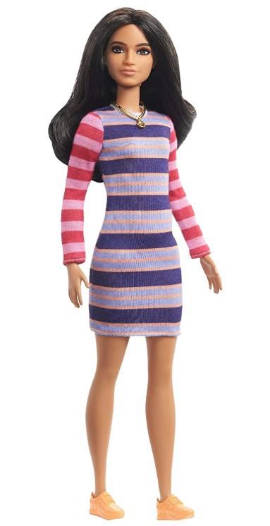 Boneca Barbie Fashionistas - 147 Cabelo Longo Morena Vestido Listrado