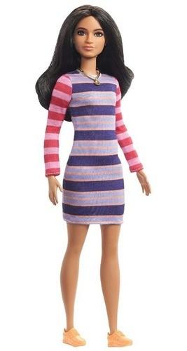 Boneca Barbie Fashionistas # 147 Cabelo Longo Morena Vestido Listrado