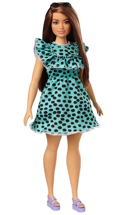 Boneca Barbie Fashionistas - 149  Morena Vestido Verde Água Bolinhas