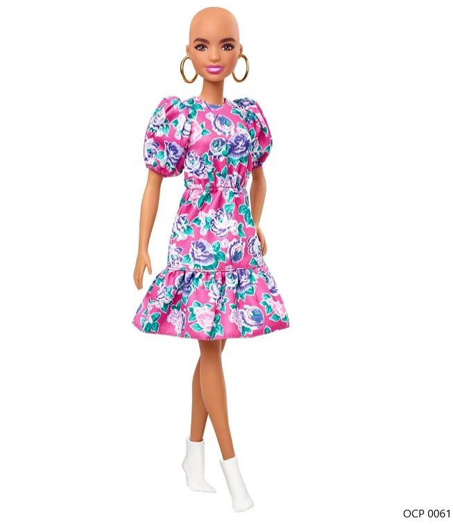 Boneca Barbie Fashionistas 150 Sem Cabelos Vestido Floral Rosa - Mattel