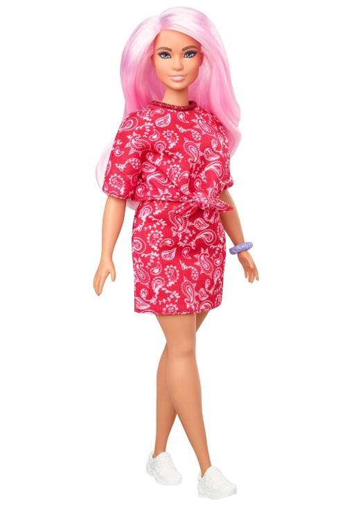 Boneca Barbie Fashionistas - 151 Cabelo Rosa Blusa e Saia Vermelha Estampada