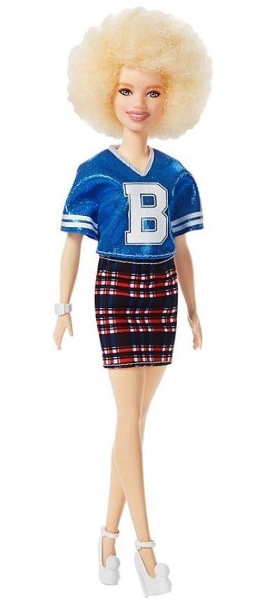 Boneca Barbie Fashionistas # 91 Crooped Azul Metalizado Saia Xadrez