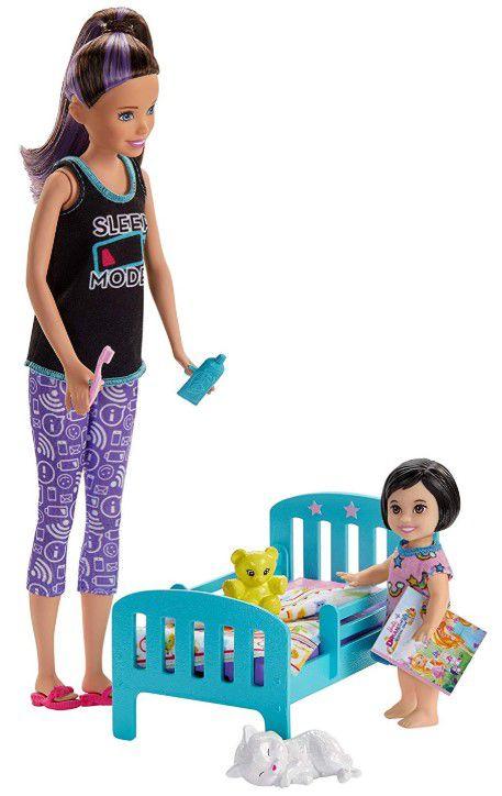 Boneca Barbie Skipper Babysitters - Hora de dormir & Playsets Boneca Menina Cabelo Preto