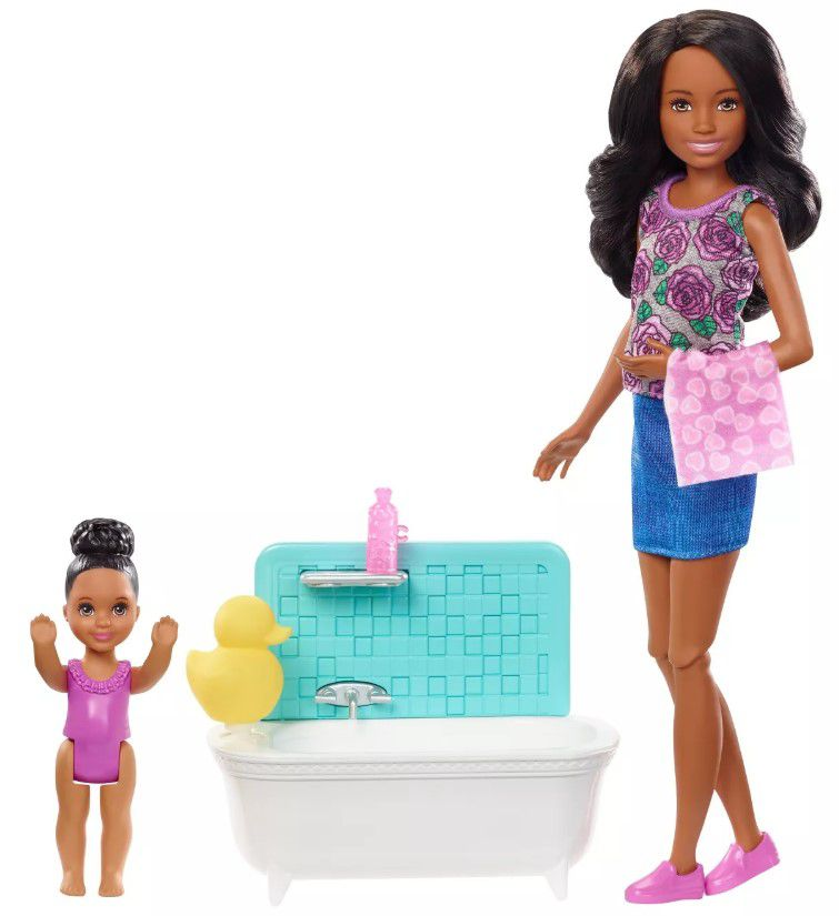 Boneca Barbie Skipper Babysitters - Hora do Banho & Playset Cabelo Preto