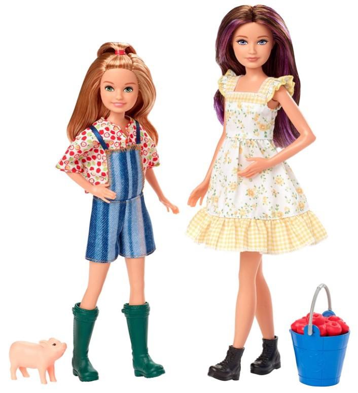 Bonecas Barbie Doce Pomar da Fazenda - Skipper e Stacie com Porco e Maças