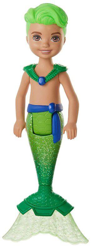Boneco Barbie Dreamtopia Chelsea Menino Tritão Verde