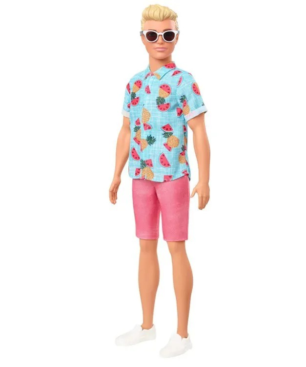 Boneco Ken Fashionistas - 152 Cabelo Loiro Camisa Tropical Shorts Coral