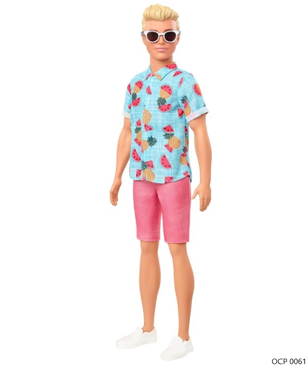 Boneco Ken Fashionistas 152 Cabelo Loiro Camisa Tropical Shorts Coral - Mattel