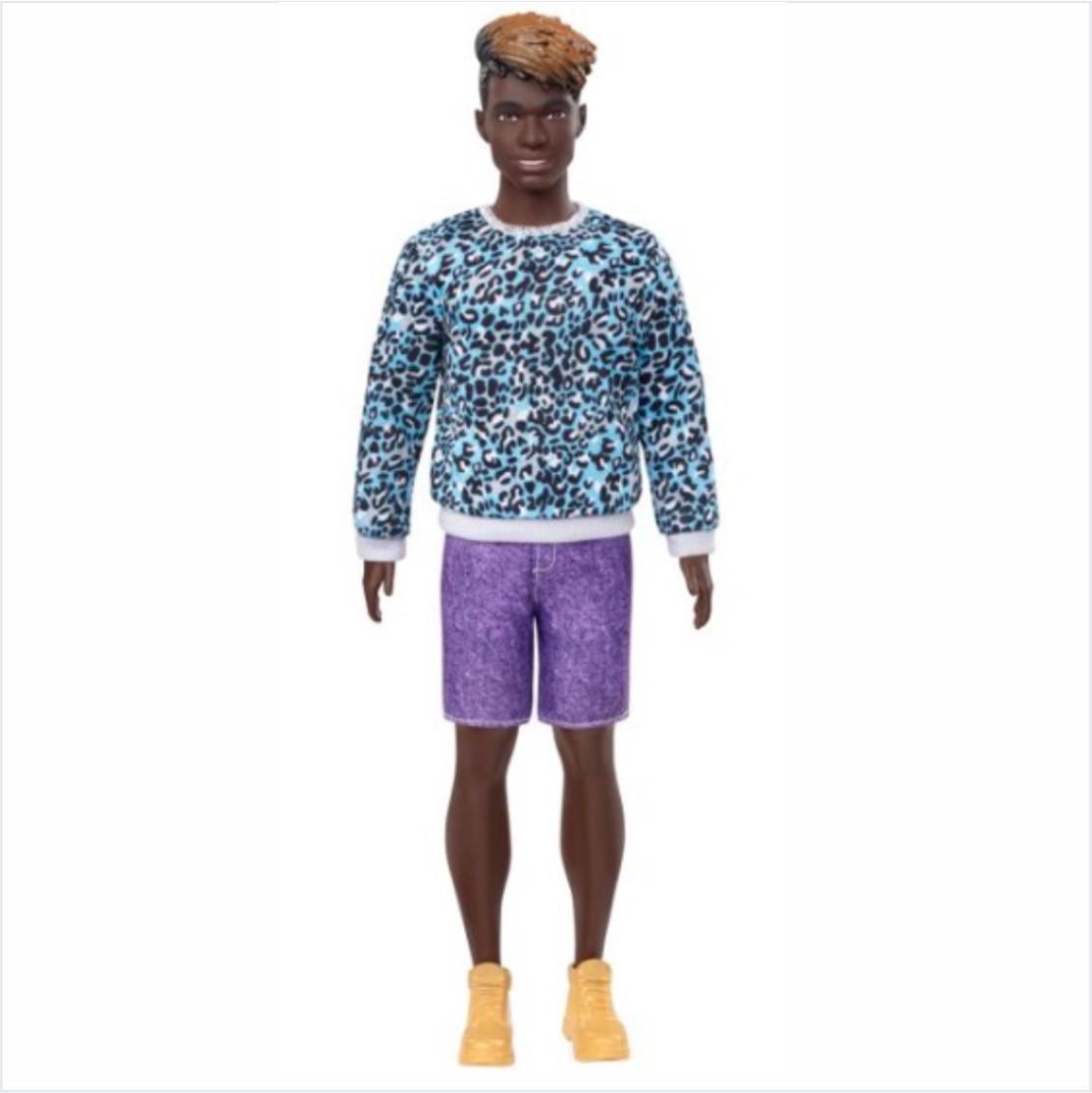 Boneco Ken Fashionistas - 153 Cabelo Dreadloks Moleton Aninal Bermuda Roxo