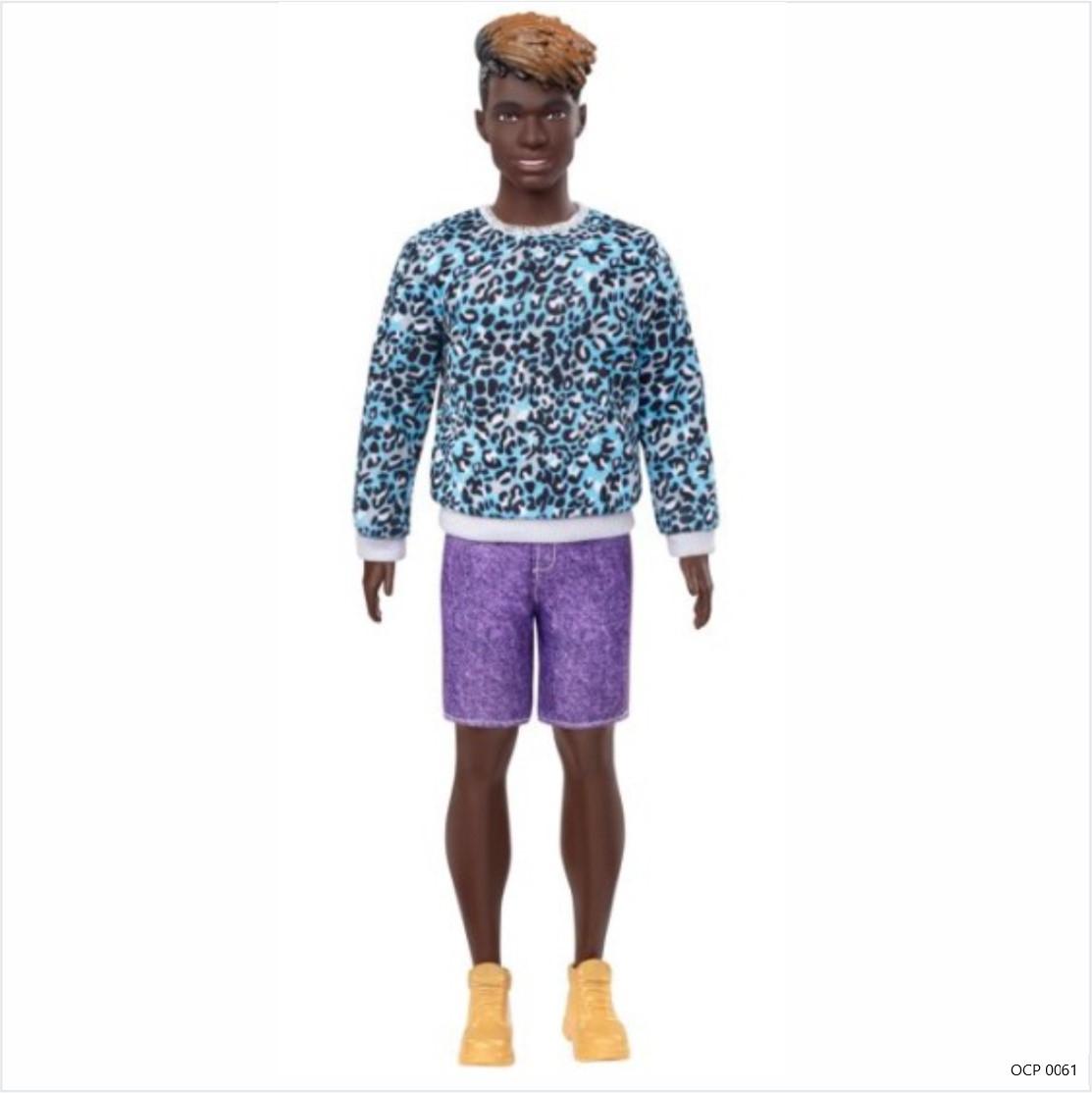 Boneco Ken Fashionistas 153 Cabelo Dreadloks Moleton Aninal Bermuda Roxo - Mattel
